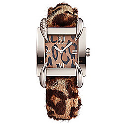 Charriol Women's Kucha Swiss Made Quartz Diamond Accented Cheetah Print Leather Strap Watch