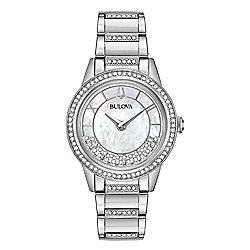 Bulova Women's Quartz Floating Crystal Accented Mother-of-Pearl Dial Stainless Steel Bracelet Watch
