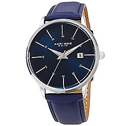 Akribos XXIV - Up to 80% OFF 678-321 Akribos XXIV 40mm Men's Quartz Date Leather Strap Watch - 678-321