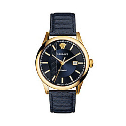 Versace Men's 44mm Aiakos Swiss Made Automatic Date Leather Strap Watch