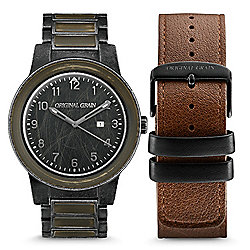 Original Grain Men's 47mm Military Barrel Quartz Wood & Steel Bracelet Watch w/ Leather Strap