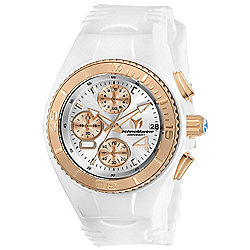 TechnoMarine Women's Cruise Quartz Chronograph Date Mother-of-Pearl White Silicone Strap Watch