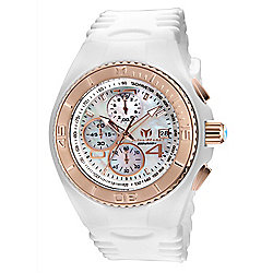 TechnoMarine Men's 46mm Cruise Quartz Chronograph Mother-of-Pearl White Silicone Strap Watch