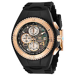TechnoMarine Men's 46mm Cruise Quartz Chronograph Mother-of-Pearl Black Silicone Strap Watch