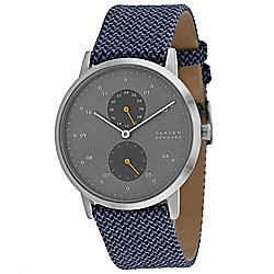 Skagen Men's 42mm Kristoffer Quartz Multi Function Woven Leather Strap Watch