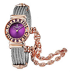 Charriol Women's St. Tropez Swiss Made Quartz Diamond Accented Stainless Steel Bracelet Watch