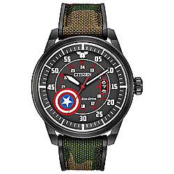 Citizen Men's 45mm Marvel Classic Captain America Eco-Drive Date Nylon Strap Watch