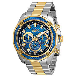 Invicta 48mm Aviator Quartz Chronograph Glass Fiber Dial Watch w/8-Slot Dive Case