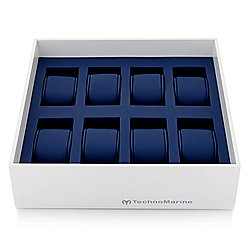 TechnoMarine 8-Slot White & Blue Stackable Watch Tray w/ Removable Cushions