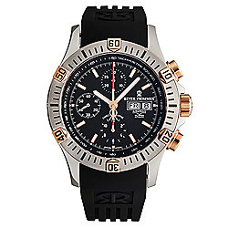 Revue Thommen - Up to 75% OFF 680-347 Revue Thommen 44mm Airspeed Automatic Day-Date Chronograph Rubber Strap Watch - 680-347