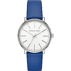 Michael Kors Women's Pyper Quartz Blue Leather Strap Watch