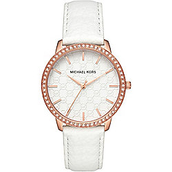 Michael Kors Women's Ladi Nini Quartz Crystal Accented Leather Strap Watch