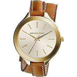 Michael Kors Women's Runway Quartz Double Wrap Leather Strap Watch