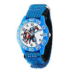 Marvel Captain America Boys' Quartz Blue Time Teacher Nylon Strap Watch