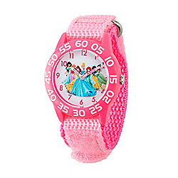 Disney® Princess Girls' Quartz Pink Time Teacher Nylon Strap Watch