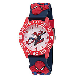 Marvel Spider-Man Boys' Quartz Red Time Teacher Strap Watch