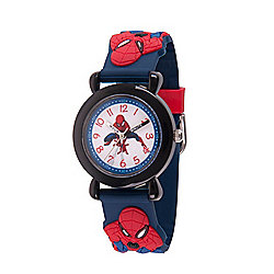 Marvel Spider-Man Boys' Quartz Blue Time Teacher Silicone Strap Watch