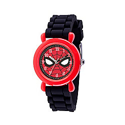Marvel Spider-Man Boys' Quartz Red Time Teacher Black Silicone Strap Watch