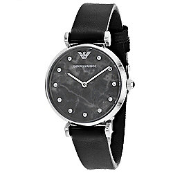 Armani Women's Quartz Mother-of-Pearl Crystal Accented Black Leather Strap Watch