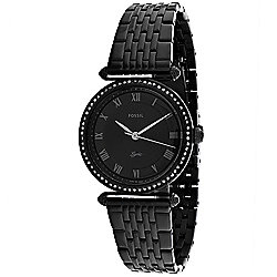 Fossil Women's Quartz Crystal Accented Black Stainless Steel Bracelet Watch
