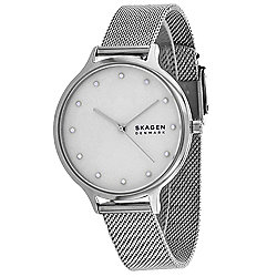 Skagen Women's Quartz Mother-of-Pearl Dial Stainless Steel Mesh Bracelet Watch