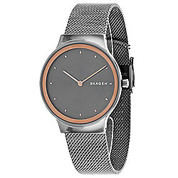 Skagen Women's Quartz Gunmetal-tone Stainless Steel Mesh Bracelet Watch