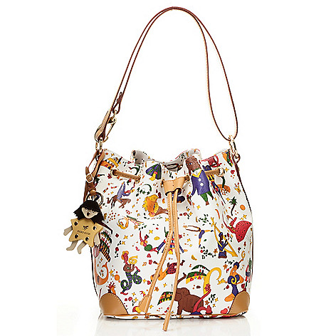 Piero Guidi Coated Canvas Magic Circus Collection Bucket Bag - EVINE d13b3ac7926