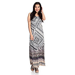 0c5ab3a6a241f One World Micro Jersey Sleeveless Embellished Printed Maxi Dress - EVINE
