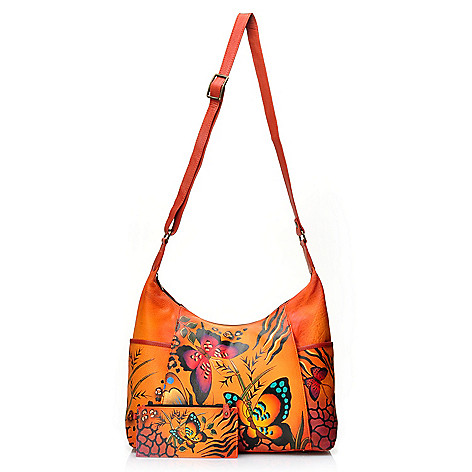 ff74277e4ca0 Anuschka Hand-Painted Leather Zip Top Hobo Handbag w  Credit Card Holder -  Final Sale - EVINE
