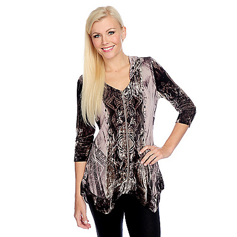 114f836aec8b1 One World Printed Knit   Velvet 3 4 Sleeve Zip-up Hoodie - EVINE