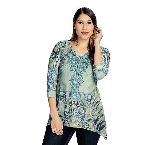 570842ce602 720-247- One World Printed Sweater Knit 3 4 Sleeve Stud Embellished  Sharkbite