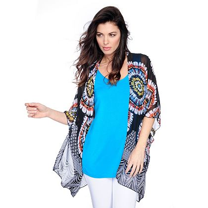Kate & Mallory Tune In for Fashionable New Arrivals 721-745 Kate & Mallory® Printed Woven Kimono Sleeve Sheer Cardigan & Layering Tank Top Set