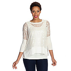 7cc26a80184 Kate   Mallory® Stretch Knit 3 4 Sleeve Embellished Top w  Attached Tank