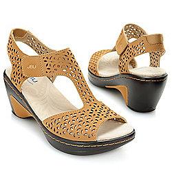 Footwear - 726-460 JBU by Jambu Chloe Memory Foam Floral Laser Cut T-Strap Wedge Sandals - 726-460