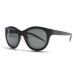 Giorgio Armani Black Round Frame Leather Detailed Sunglasses w/ Case