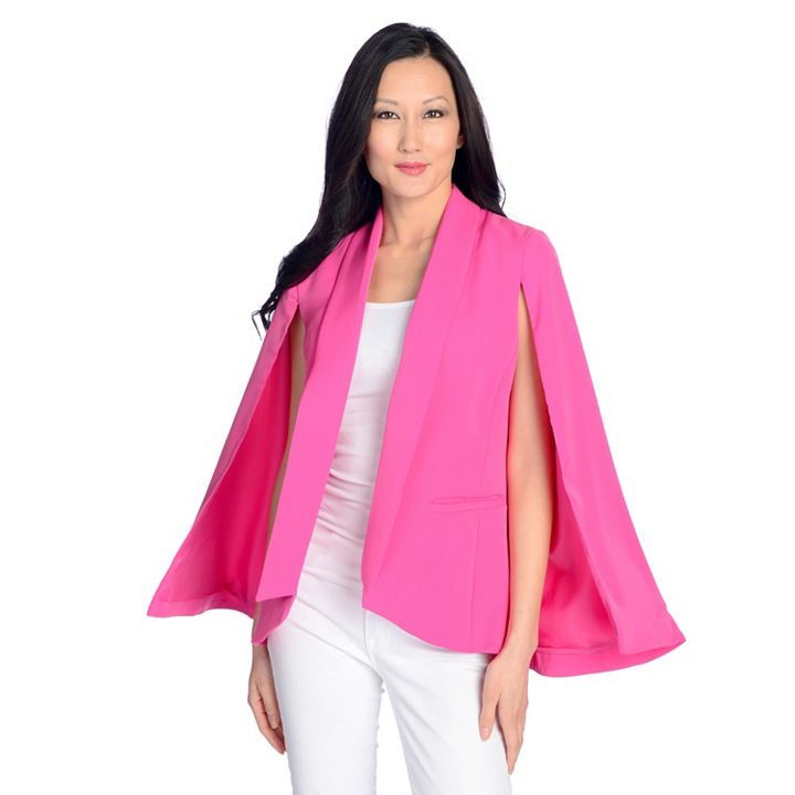 Marc Bouwer Unlimited Up to 60% Off Red Carpet Style at ShopHQ 726-714 Marc Bouwer Woven Fully Lined Rolled Collar 2-Pocket Cape