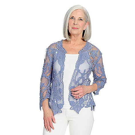 Indigo Thread Co.™ Crocheted Lace 3 4 Sleeve Open Front Cardigan - EVINE 703d9f91a