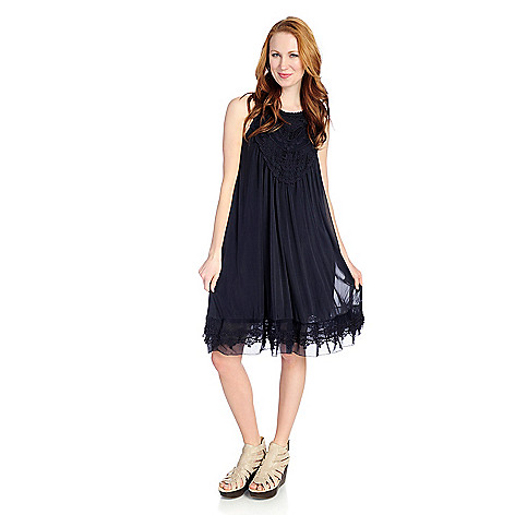 897c2d5af24 726-801- Indigo Thread Co.™ Knit Mesh Sleeveless Lace Crocheted Babydoll  Dress