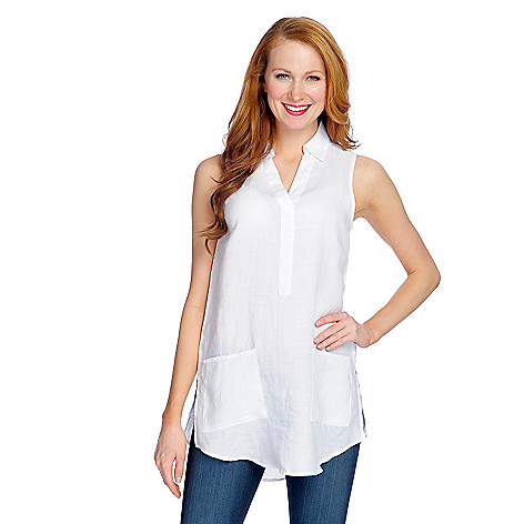 Discount OSO Casuals 100% Linen Two-Pocket Shirttail Hem Side Slit Tank Top for sale