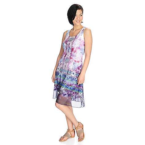 df1d29f57 One World Printed Knit   Woven Sleeveless Embellished Dress - EVINE
