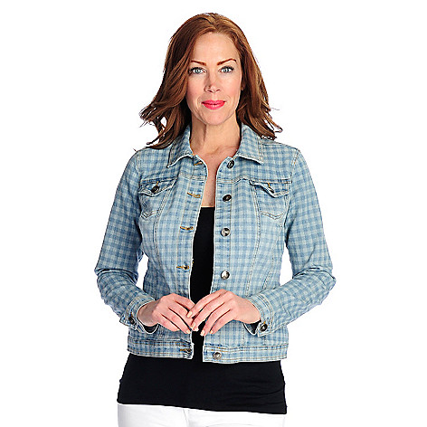 97c4e4219a2595 OSO Casuals® Patterned Denim Long Sleeved Button Front Two-Pocket Jacket