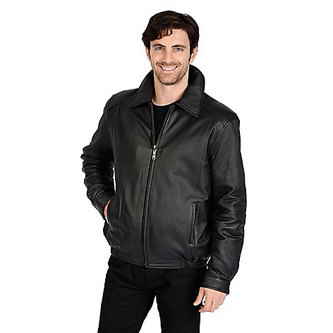 8c7c902cc Excelled Men's Lamb Leather Pointed Collar Zip Front Bomber Jacket on sale  at evine.com
