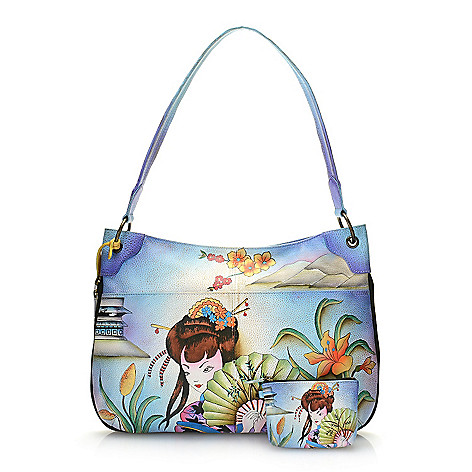 Anuschka Hand-Painted Leather Zip Around Shoulder Bag w/ Strap & Coin Pouch -