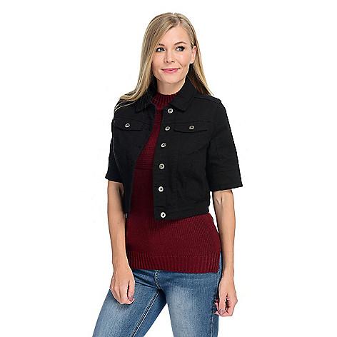 63e1c536446 727-944- One World Stretch Denim Elbow Sleeve Two-Pocket Cropped Jacket