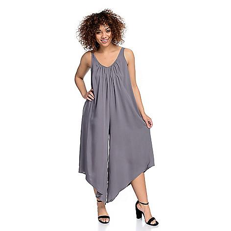 ed9d0015fe85 728-085- Kate   Mallory® Woven Sleeveless Angled Wide Leg Capri Length  Jumpsuit
