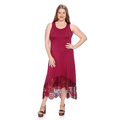 Kate Mallory Stretch Knit Sleeveless Lace Detailed Hi Lo Maxi