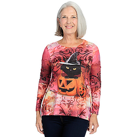 63c740b829c6bb 728-673- One World Printed Knit Long Sleeve Gathered Back Hi-Lo Top