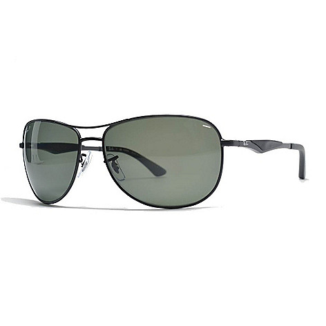 Ray Ban Men S Black Frame Polarized Aviator Sunglasses W Case On Sale At Shophq Com
