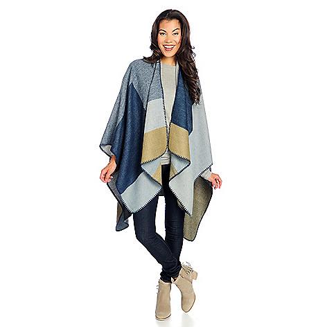 2d21939fc25 Harve Benard Woven Jacquard Whipstitched Color Block Ruana Wrap - EVINE