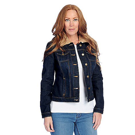 cf67f7be871f6c OSO Casuals® Stretch Denim Four-Pocket Jacket w  Removable Faux Sherpa  Collar